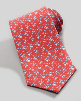 Monkey-Print Silk Tie, Red