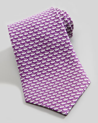 Two-Swans Silk Tie, Purple