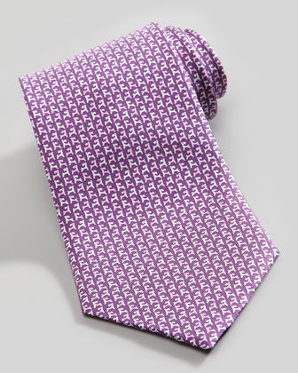 Two-Tone Dog-Print Silk Tie, Purple