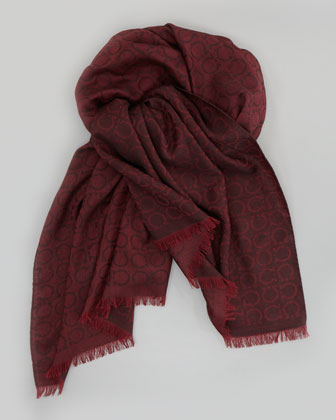 Gancini Wool Scarf, Maroon/Gray
