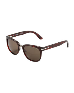 Tom Ford Rock Clubmaster Sunglasses, Shiny Havana