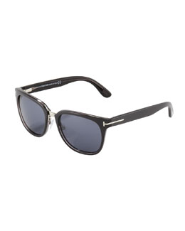 Tom Ford Rock Clubmaster Sunglasses, Shiny Gray