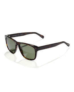 Oliver Peoples DBS Polarized Square Frame Sunglasses, Oak