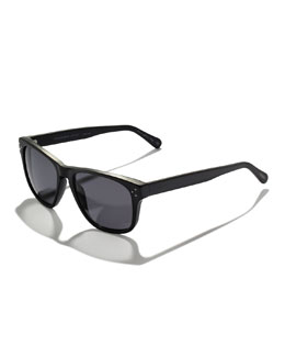 Oliver Peoples DBS Polarized Square Frame Sunglasses, Black