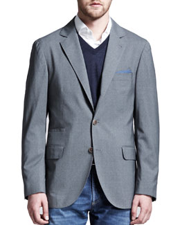 Brunello Cucinelli Deconstructed Travel Jacket, Gray