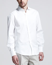 Button-Down Slim-Spread Collar Shirt, White