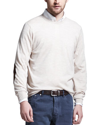 Fine-Gauge Knit Elbow-Patch Sweater, Oatmeal