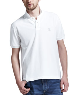 Brunello Cucinelli Pique Logo Polo, White