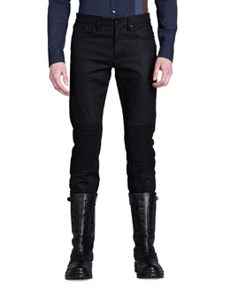 Belstaff Blackrod Raw Denim Moto Jeans, Black