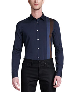 Belstaff Bradley Long-Sleeve Woven Striped Shirt, Navy