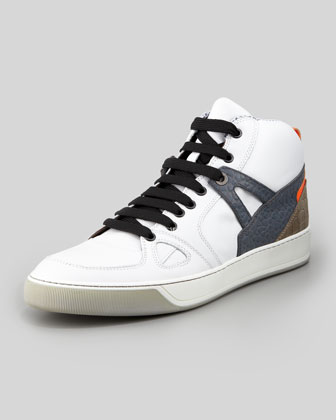 Calfskin Sneaker with Fluorescent Detail, White