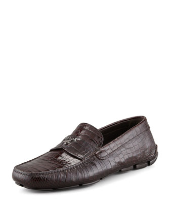 Crocodile-Embossed Driver, Brown