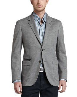 Ermenegildo Zegna Soft Melange Two-Button Blazer, Gray