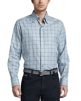 Ermenegildo Zegna Long-Sleeve Plaid Sport Shirt, Navy/Blue/Sage