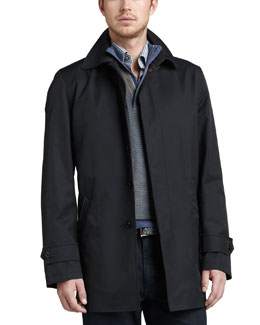 Ermenegildo Zegna City Cotton-Blend Zip Coat, Navy