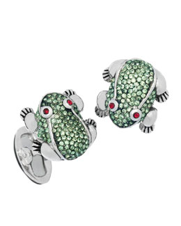 Jan Leslie Crystal-Embellished Frog Cuff Links