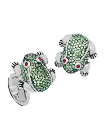 Crystal-Embellished Frog Cuff Links