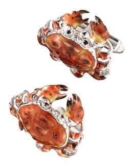 Jan Leslie Enamel Crab Cuff Links, Set of Two