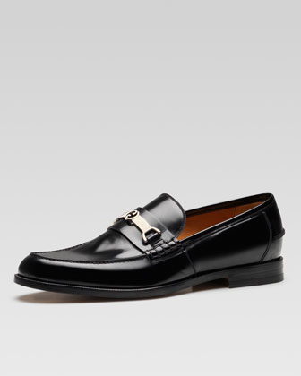 Taras Leather Interlocking G Horsebit Loafer, Black