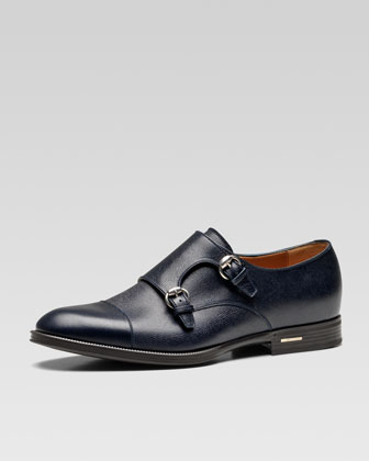 Handir Double-Monk Strap Shoe, Blue