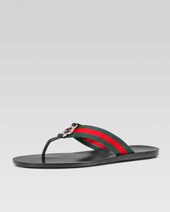 GG Line Signature Web Thong Sandal