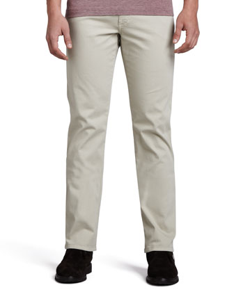 Five-Pocket Gabardine Twill Pants, Beige