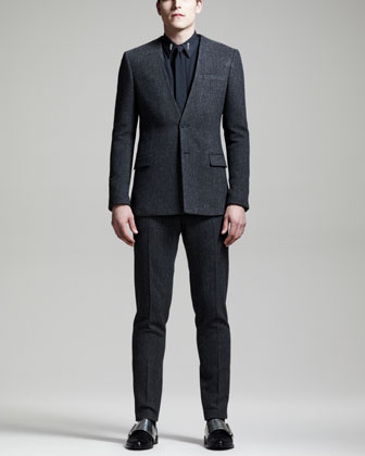 No-Collar Tweed Jacket, Gray