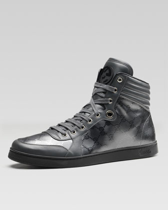 Coda GG Imprime High-Top Sneaker, Platinum Gray