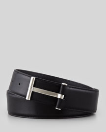 Men's Leather T-Buckle Belt, Black