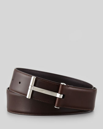 Men's Leather T-Buckle Belt, Tan