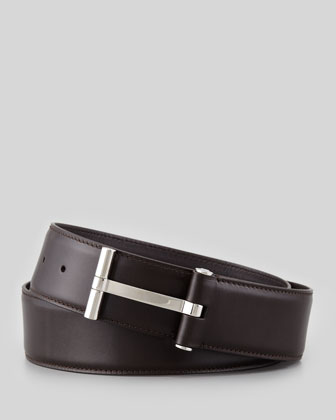Men's Leather T-Buckle Belt, Brown