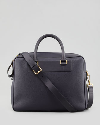 Leather Zip Briefcase, Blue