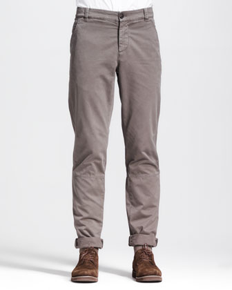 Basic Slim-Fit Aviator Pants, Castagnia