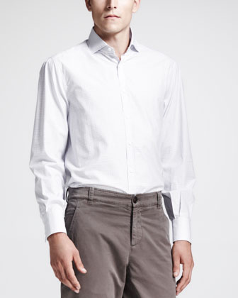 Long-Sleeve Windowpane Shirt, White