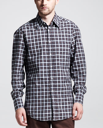 Multi-Check Basic Long-Sleeve Shirt, Brown