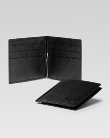 Soho Leather Money-Clip Wallet, Black
