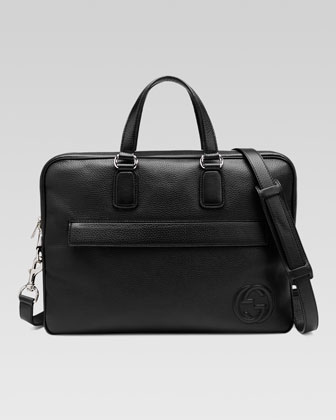 Soho Leather Briefcase, Black