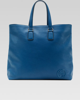 Soho Men's Leather Tote Bag, Sapphire Blue
