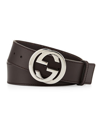 Leather Interlocking G Belt, Brown