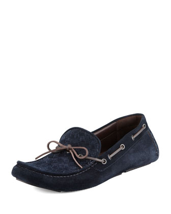 Suede Woven-Front Driver, Navy