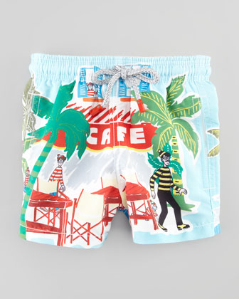 Special Edition Where's Waldo? Boys' Jam Swim Trunks, Sizes 2-6