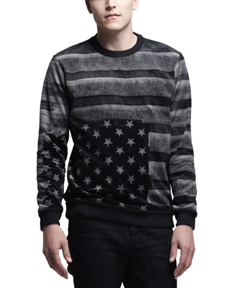 Long-Sleeve Velvet Flag Shirt, Black