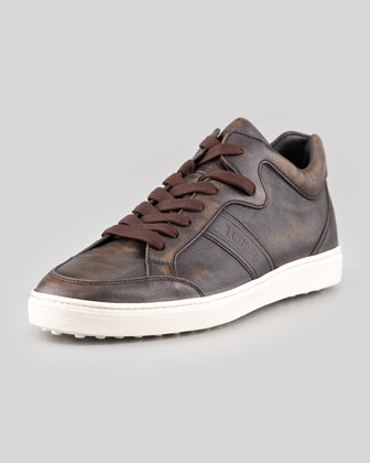 Low-Cut Leather Sneaker, Brown