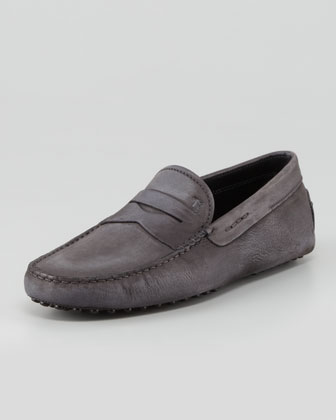 Suede Leather Driver, Gray