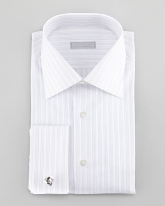3-Double-Stripe Dress Shirt, Purple