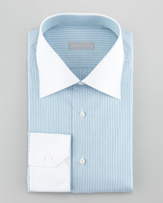 Contrast-Collar 3-Row Stripe Dress Shirt, Aqua