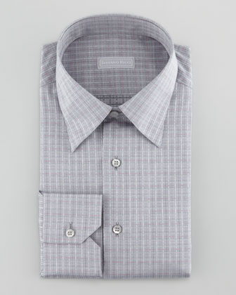 Woven Plaid Dress Shirt, Gray/Pink