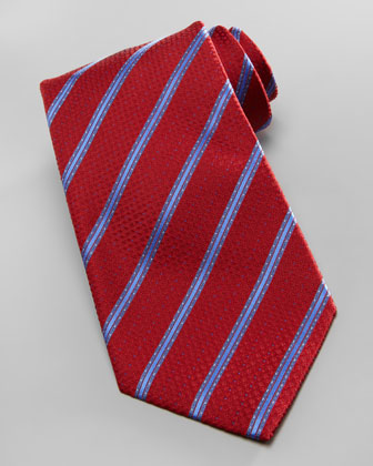 Dot-Stripe Silk Tie, Red/Blue