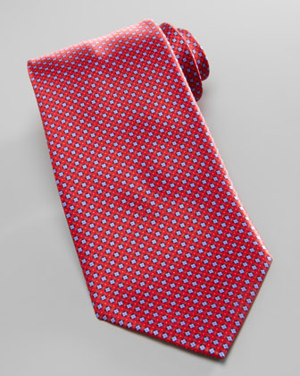 Micro-Square Neat Silk Tie, Red/Blue