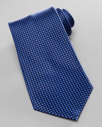 Micro-Dot Neat Silk Tie, Navy